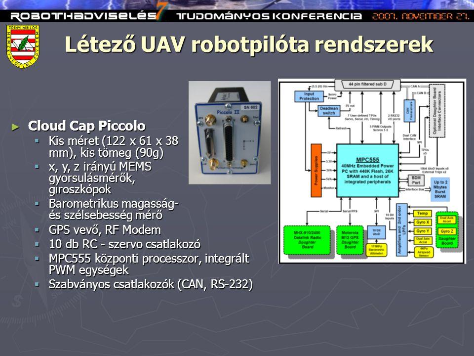 Létező UAV robotpilóta rendszerek  GPS vevő, RF Modem  10 db RC - szervo csatlakozó  MPC555 központi processzor, integrált PWM egységek  Szabványos csatlakozók (CAN, RS-232) ► Cloud Cap Piccolo  Kis méret (122 x 61 x 38 mm), kis tömeg (90g)  x, y, z irányú MEMS gyorsulásmérők, giroszkópok  Barometrikus magasság- és szélsebesség mérő
