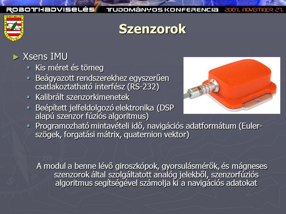 Szenzorok ► SRF08 Ultrahangos magasságmérő  Kis méret és tömeg  Beágyazott rendszerekhez egyszerűen csatlakoztatható interfész (I 2 C)  Programozható mérési tartomány (max.