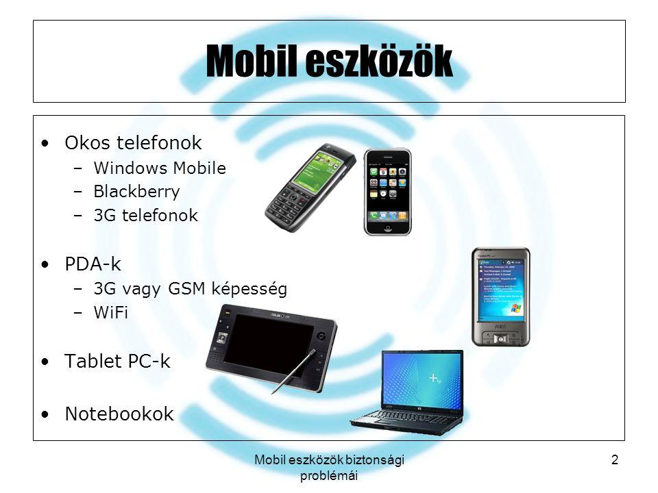 Mobil eszközök biztonsági problémái 3 Felhasználási területek Hozzáférés a vállalati erőforrásokhoz –E-mail postafiókok –Dokumentum-hozzáférés –Intranet hozzáférés Személyi kommunikációs megoldások –Azonnali üzenetküldő rendszerek –Mobiltelefónia Általánosnál nagyobb tudással rendelkező eszközök –Mobiltelefon  Blackberry Felhasználhatóak személyes célokra is –Vállalati és személyes adatok keveredése