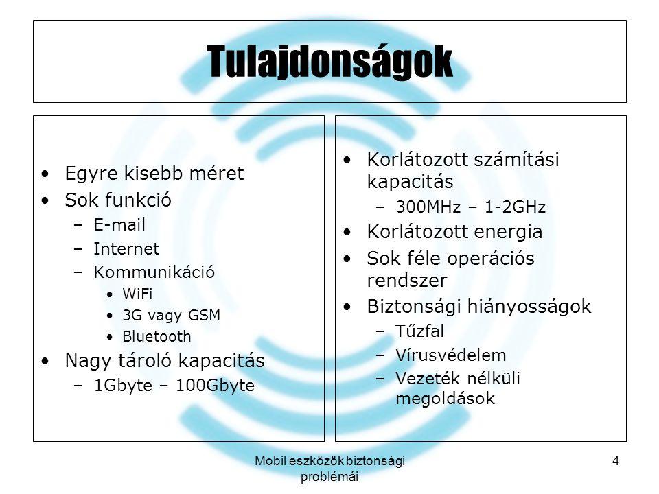 Mobil eszközök biztonsági problémái 4 Tulajdonságok Egyre kisebb méret Sok funkció –E-mail –Internet –Kommunikáció WiFi 3G vagy GSM Bluetooth Nagy tár