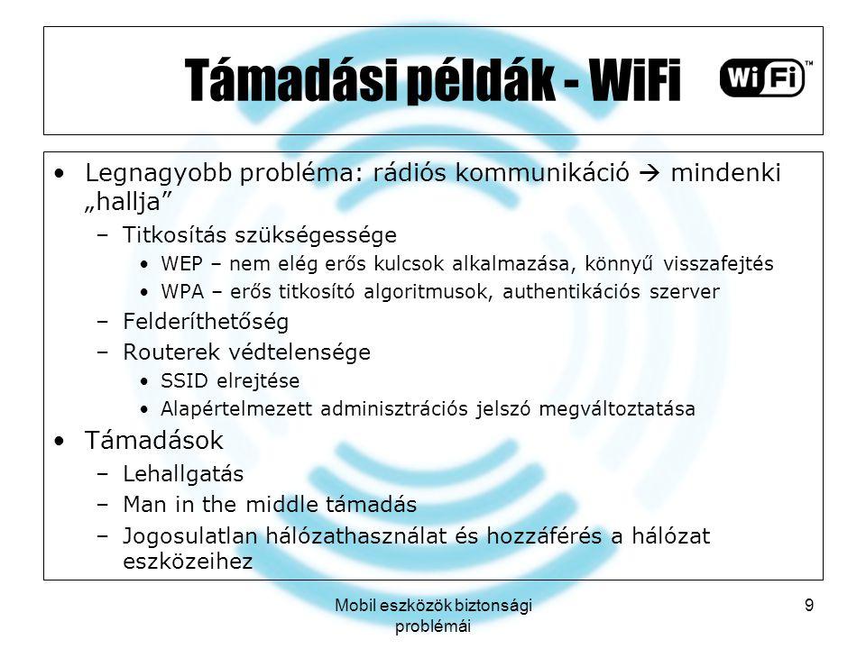 """Mobil eszközök biztonsági problémái 9 Támadási példák - WiFi Legnagyobb probléma: rádiós kommunikáció  mindenki """"hallja"""" –Titkosítás szükségessége WE"""