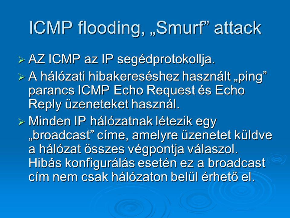 """ICMP flooding, """"Smurf"""" attack  AZ ICMP az IP segédprotokollja.  A hálózati hibakereséshez használt """"ping"""" parancs ICMP Echo Request és Echo Reply üz"""