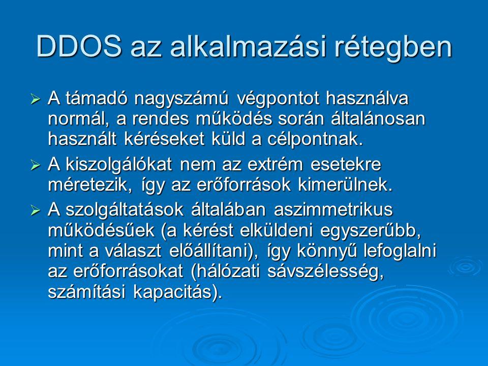 DDOS az alkalmazási rétegben  A támadó nagyszámú végpontot használva normál, a rendes működés során általánosan használt kéréseket küld a célpontnak.