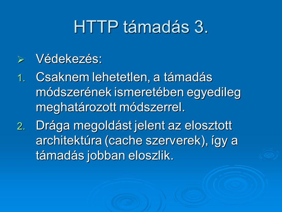 HTTP támadás 3.  Védekezés: 1. Csaknem lehetetlen, a támadás módszerének ismeretében egyedileg meghatározott módszerrel. 2. Drága megoldást jelent az