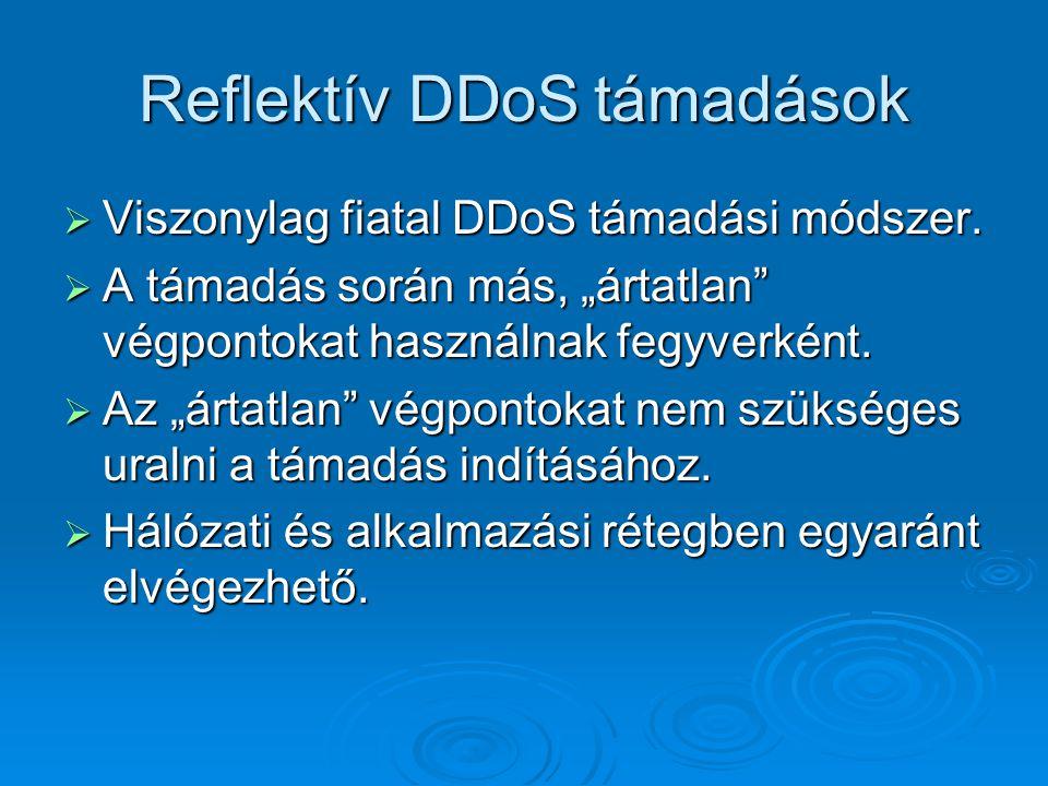 """Reflektív DDoS támadások  Viszonylag fiatal DDoS támadási módszer.  A támadás során más, """"ártatlan"""" végpontokat használnak fegyverként.  Az """"ártatl"""