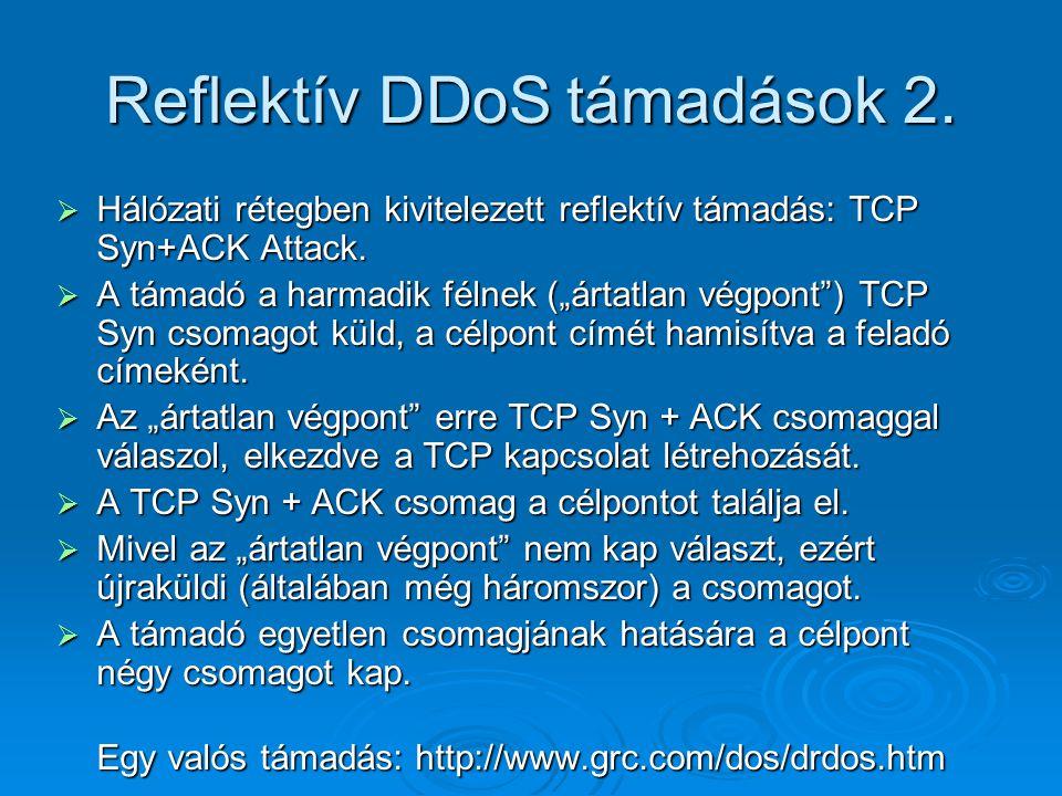 """Reflektív DDoS támadások 2.  Hálózati rétegben kivitelezett reflektív támadás: TCP Syn+ACK Attack.  A támadó a harmadik félnek (""""ártatlan végpont"""")"""