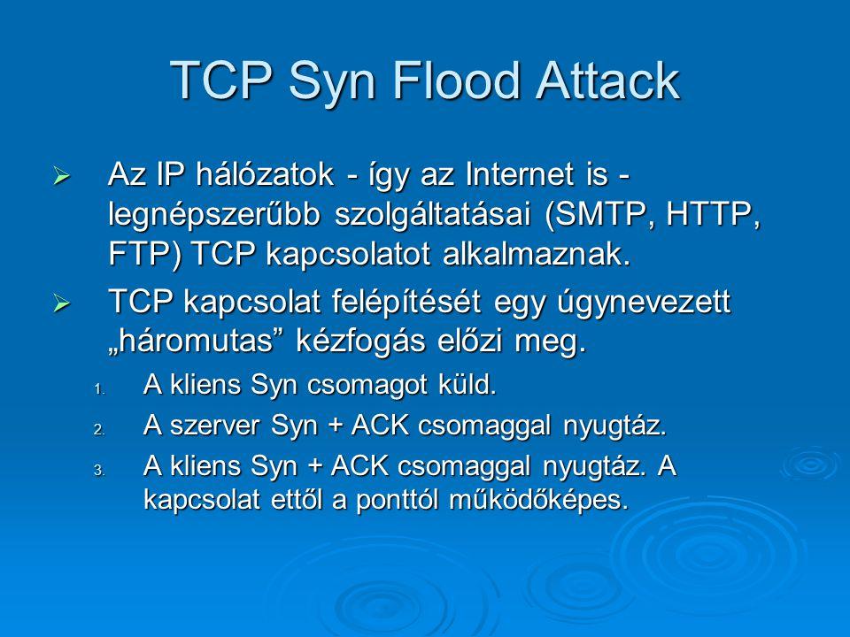 TCP Syn Flood Attack  Az IP hálózatok - így az Internet is - legnépszerűbb szolgáltatásai (SMTP, HTTP, FTP) TCP kapcsolatot alkalmaznak.  TCP kapcso