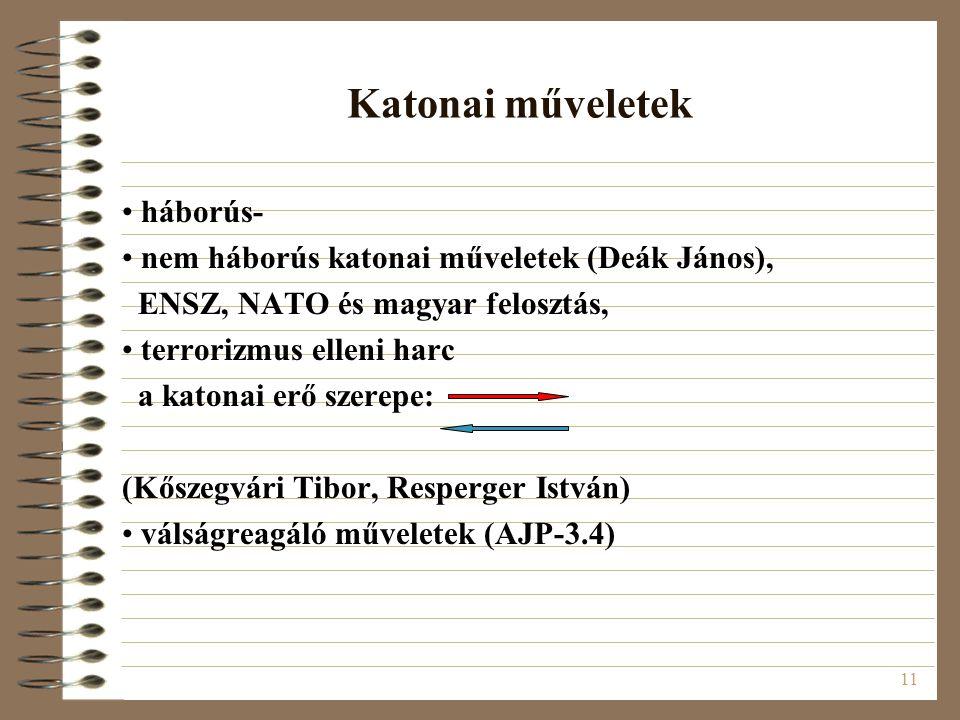 11 Katonai műveletek háborús- nem háborús katonai műveletek (Deák János), ENSZ, NATO és magyar felosztás, terrorizmus elleni harc a katonai erő szerep