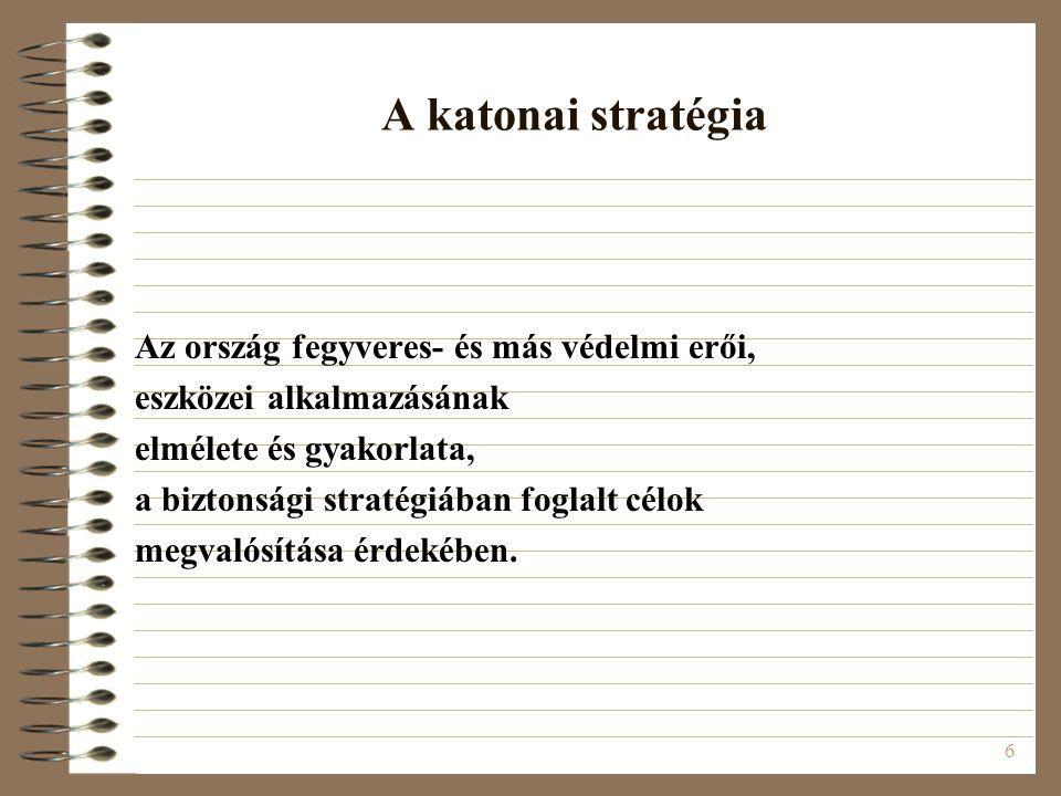 6 A katonai stratégia Az ország fegyveres- és más védelmi erői, eszközei alkalmazásának elmélete és gyakorlata, a biztonsági stratégiában foglalt célo