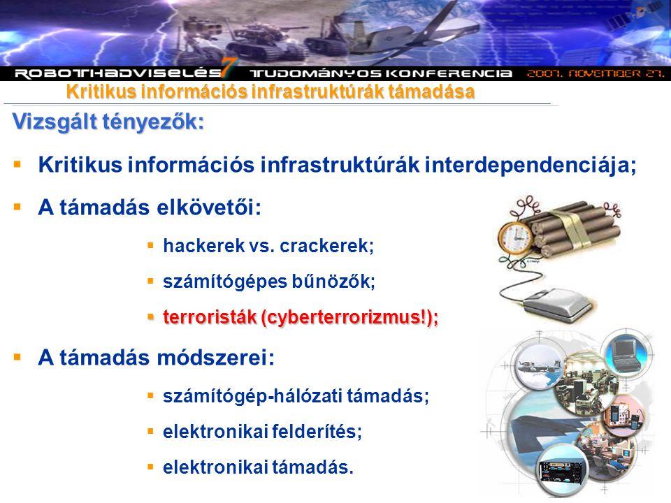 Vizsgált tényezők:  Kritikus információs infrastruktúrák interdependenciája;  A támadás elkövetői:  hackerek vs. crackerek;  számítógépes bűnözők;