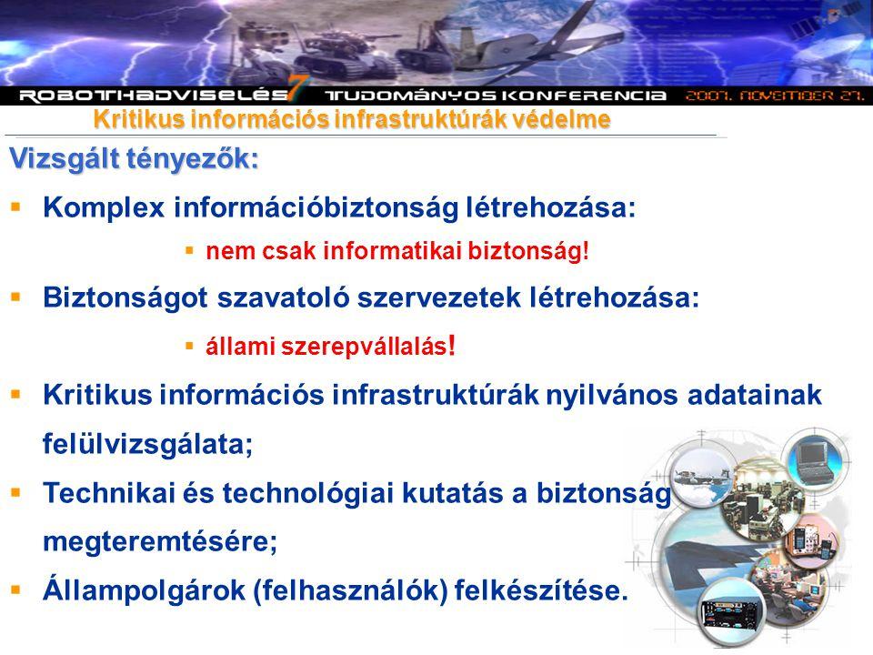 Vizsgált tényezők:  Komplex információbiztonság létrehozása:  nem csak informatikai biztonság.