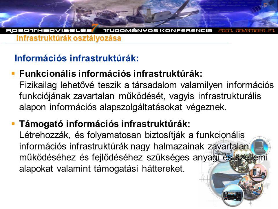 Információs infrastruktúrák: Infrastruktúrák osztályozása  Funkcionális információs infrastruktúrák: Fizikailag lehetővé teszik a társadalom valamilyen információs funkciójának zavartalan működését, vagyis infrastrukturális alapon információs alapszolgáltatásokat végeznek.