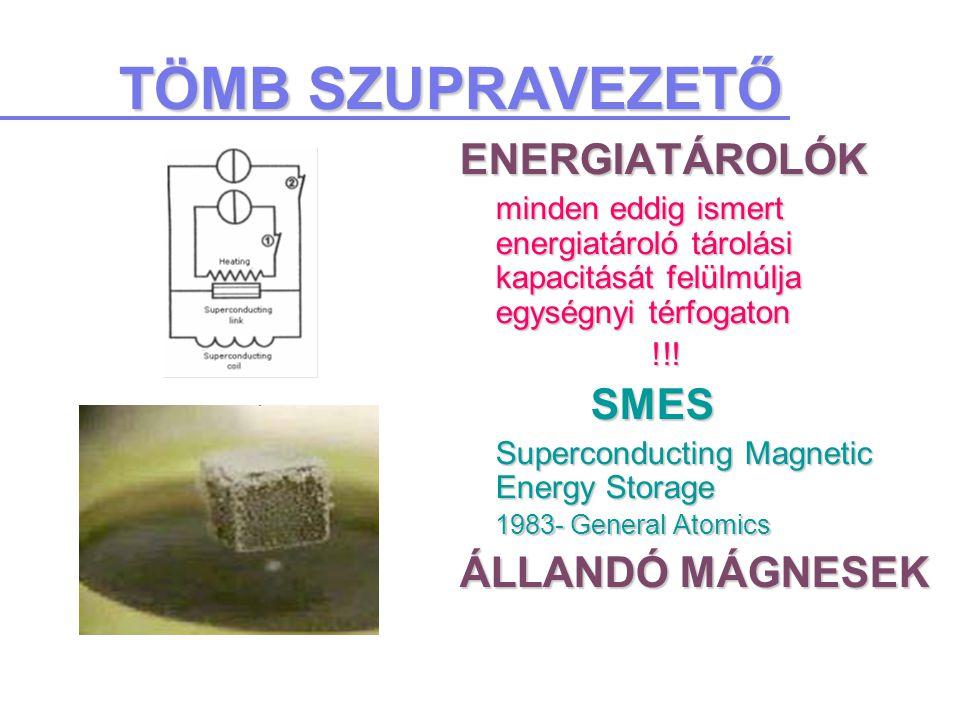 TÖMB SZUPRAVEZETŐ ENERGIATÁROLÓK minden eddig ismert energiatároló tárolási kapacitását felülmúlja egységnyi térfogaton !!.
