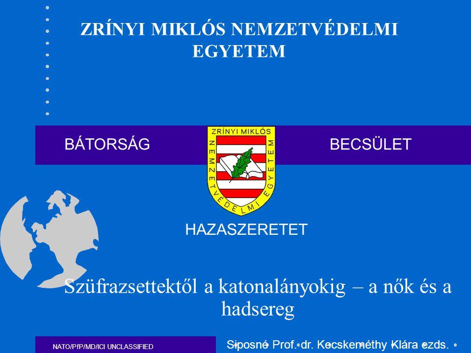 NATO/PfP/MD/ICI UNCLASSIFIED COUNTRY200120022003200420052006 The Netherlands8,08,48,58,659,09 Norway3,23,35,76,3 7 Poland0,10,3 0,47 0,52 Portugal6,6 8,4 12 Romania---3,995,05 Slovakia---6,17,067,7 Slovenia---19,215,38-- Spain5,89,010,010,510,713,47 Turkey0,1 3,95 3,1 United Kingdom8,18,38,68,89,09,1 United States14,0 15,0 15,510,49 A nők aránya a NATO hadseregekben