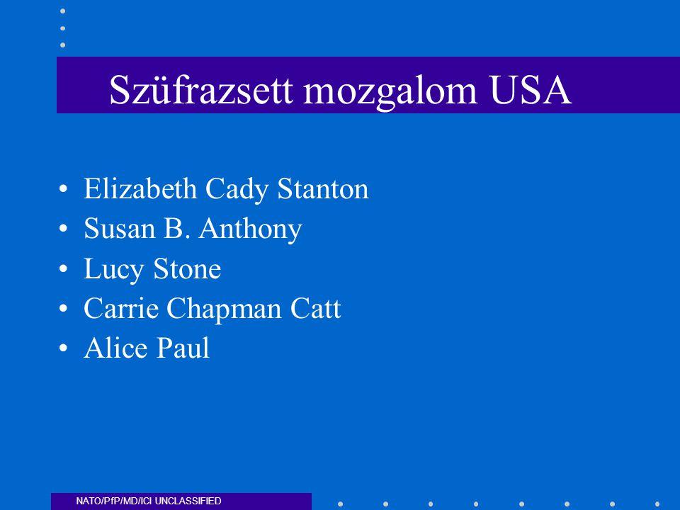 NATO/PfP/MD/ICI UNCLASSIFIED Szüfrazsett mozgalom USA Elizabeth Cady Stanton Susan B.
