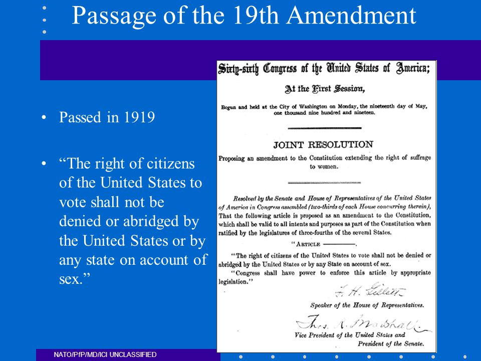 NATO/PfP/MD/ICI UNCLASSIFIED Passage of the 19th Amendment Passed in 1919 The right of citizens of the United States to vote shall not be denied or abridged by the United States or by any state on account of sex.