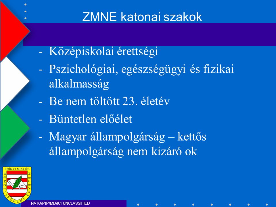 NATO/PfP/MD/ICI UNCLASSIFIED -Középiskolai érettségi -Pszichológiai, egészségügyi és fizikai alkalmasság -Be nem töltött 23.
