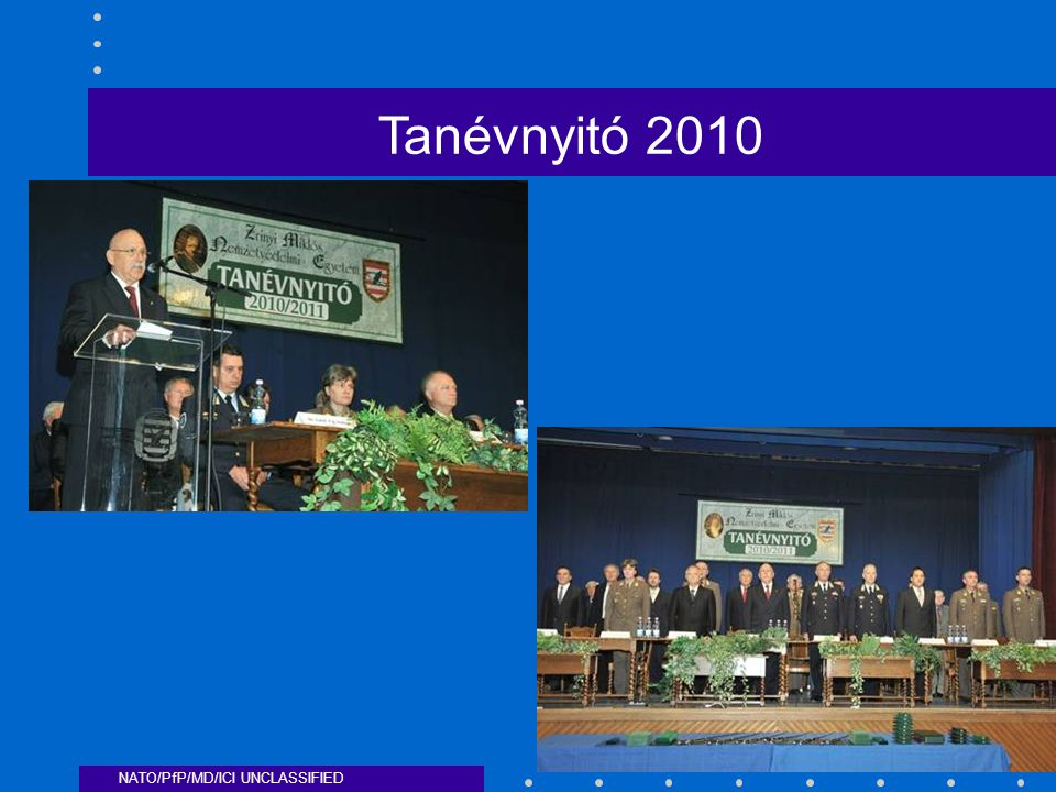 NATO/PfP/MD/ICI UNCLASSIFIED Tanévnyitó 2010