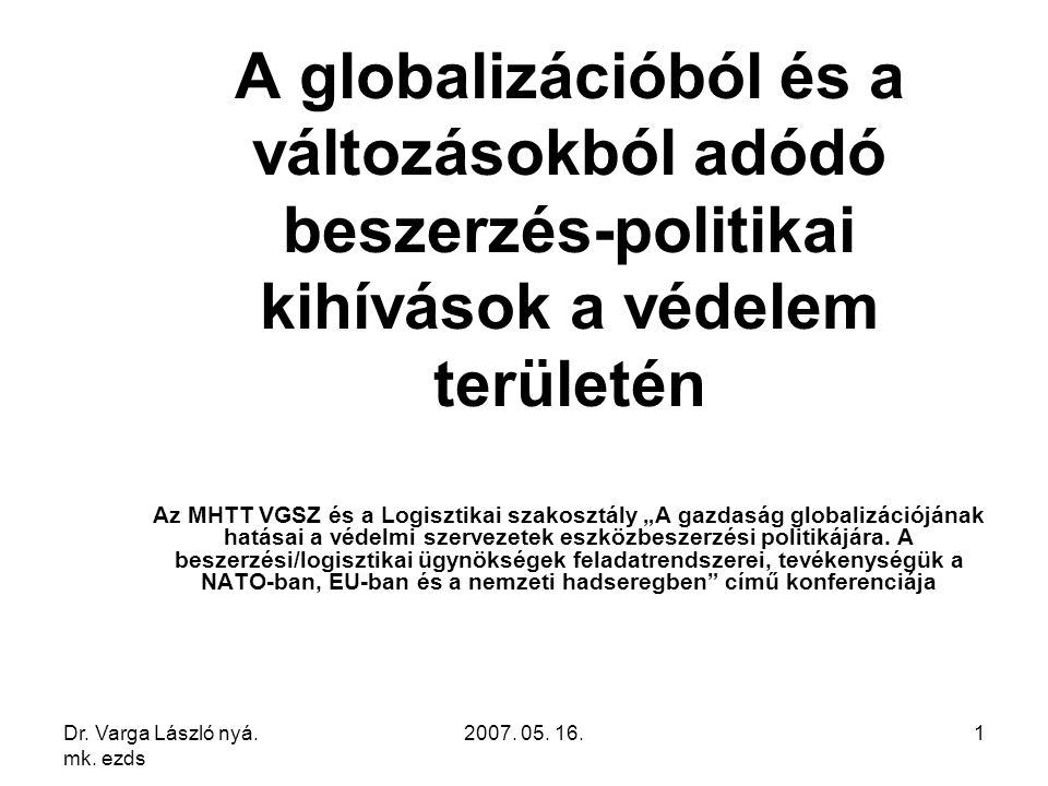 Dr. Varga László nyá. mk. ezds 2007. 05. 16.1 A globalizációból és a változásokból adódó beszerzés-politikai kihívások a védelem területén Az MHTT VGS