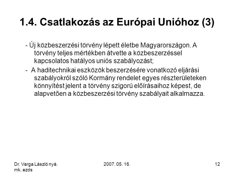 Dr. Varga László nyá. mk. ezds 2007. 05. 16.12 1.4. Csatlakozás az Európai Unióhoz (3) - Új közbeszerzési törvény lépett életbe Magyarországon. A törv