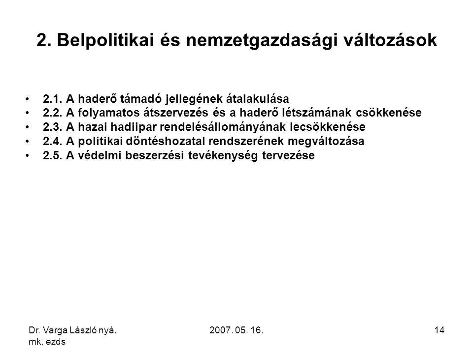 Dr. Varga László nyá. mk. ezds 2007. 05. 16.14 2. Belpolitikai és nemzetgazdasági változások 2.1. A haderő támadó jellegének átalakulása 2.2. A folyam