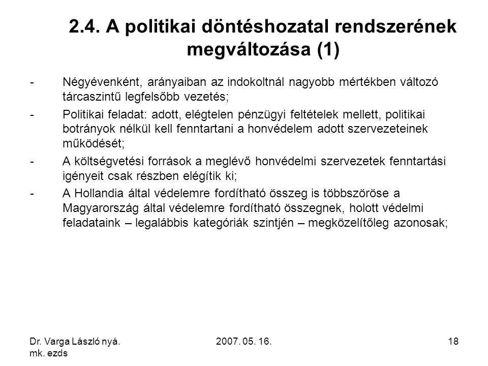 Dr. Varga László nyá. mk. ezds 2007. 05. 16.18 2.4. A politikai döntéshozatal rendszerének megváltozása (1) -Négyévenként, arányaiban az indokoltnál n