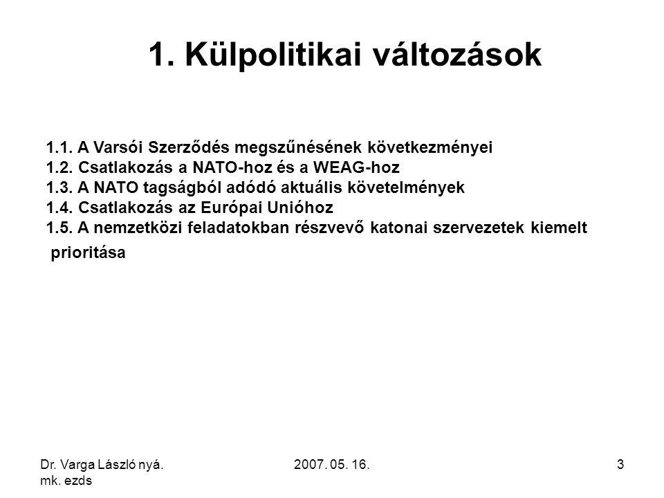 Dr. Varga László nyá. mk. ezds 2007. 05. 16.3 1. Külpolitikai változások 1.1. A Varsói Szerződés megszűnésének következményei 1.2. Csatlakozás a NATO-