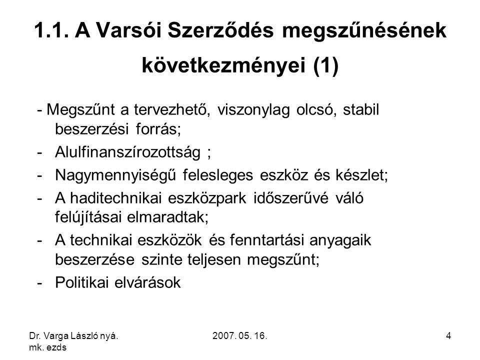 Dr. Varga László nyá. mk. ezds 2007. 05. 16.4 1.1. A Varsói Szerződés megszűnésének következményei (1) - Megszűnt a tervezhető, viszonylag olcsó, stab
