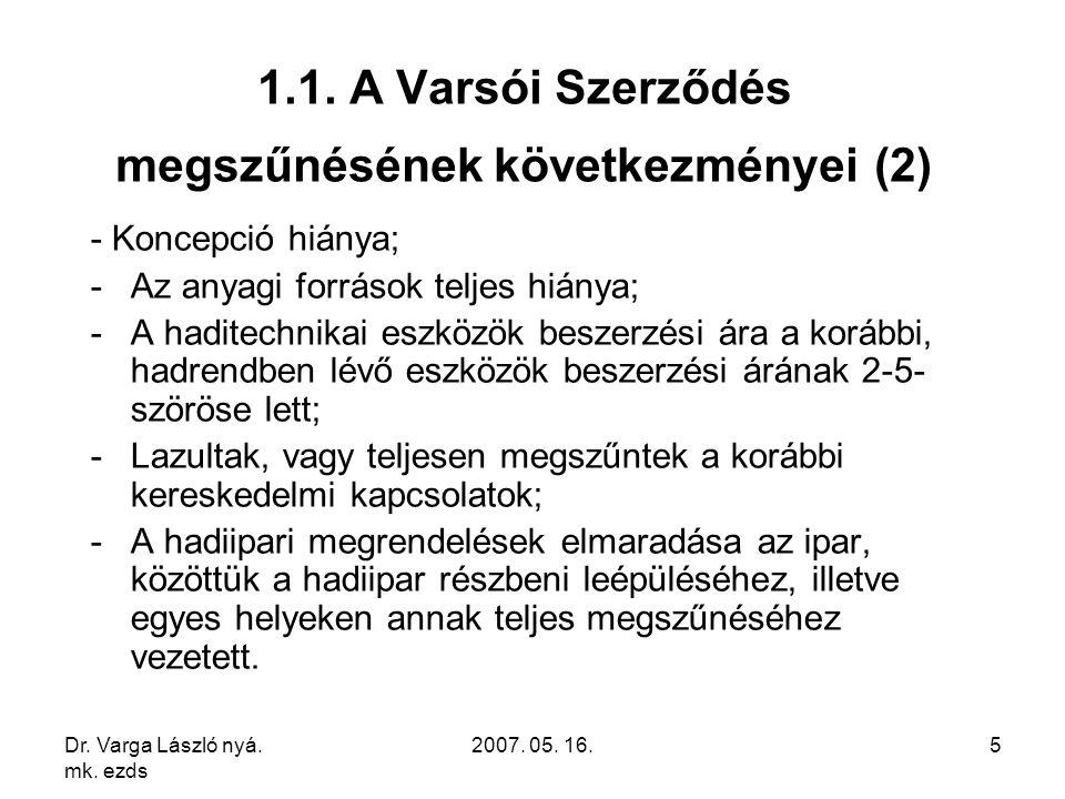 Dr. Varga László nyá. mk. ezds 2007. 05. 16.5 1.1. A Varsói Szerződés megszűnésének következményei (2) - Koncepció hiánya; -Az anyagi források teljes