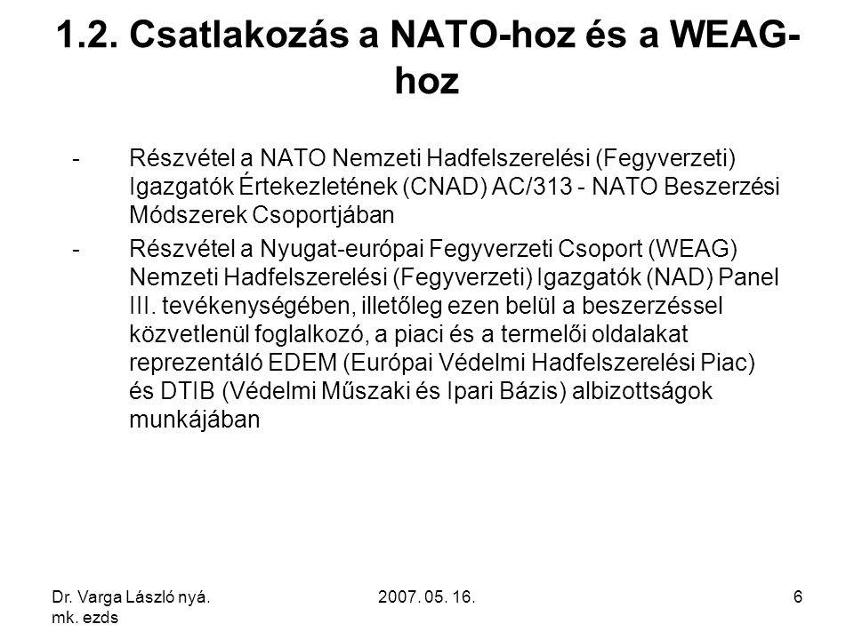 Dr. Varga László nyá. mk. ezds 2007. 05. 16.6 1.2. Csatlakozás a NATO-hoz és a WEAG- hoz -Részvétel a NATO Nemzeti Hadfelszerelési (Fegyverzeti) Igazg