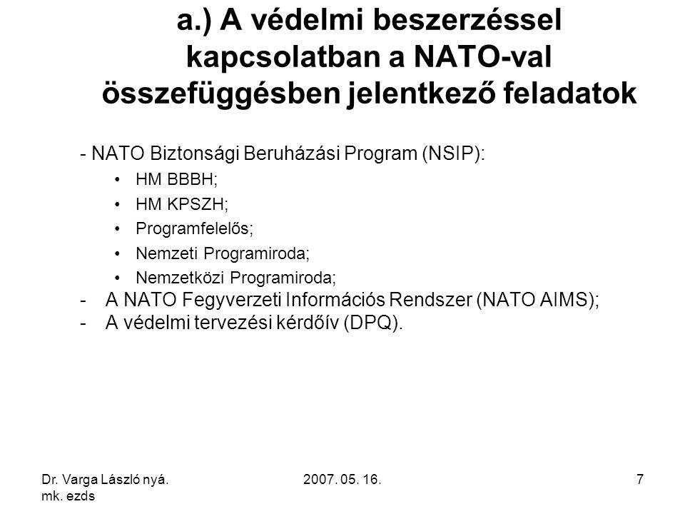 Dr. Varga László nyá. mk. ezds 2007. 05. 16.7 a.) A védelmi beszerzéssel kapcsolatban a NATO-val összefüggésben jelentkező feladatok - NATO Biztonsági