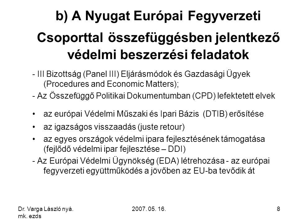 Dr. Varga László nyá. mk. ezds 2007. 05. 16.8 b) A Nyugat Európai Fegyverzeti Csoporttal összefüggésben jelentkező védelmi beszerzési feladatok - III