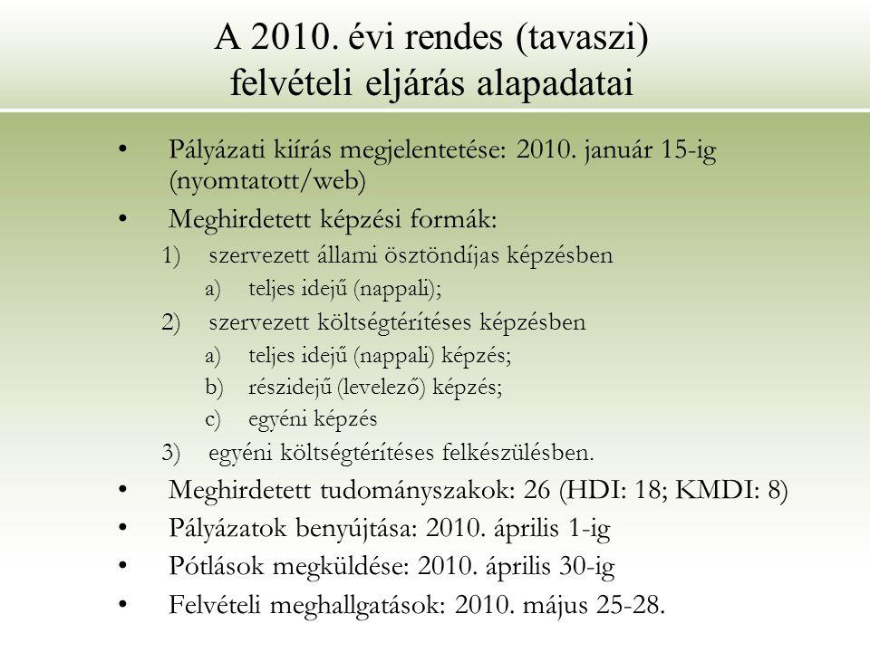 A 2010. évi rendes (tavaszi) felvételi eljárás alapadatai Pályázati kiírás megjelentetése: 2010. január 15-ig (nyomtatott/web) Meghirdetett képzési fo
