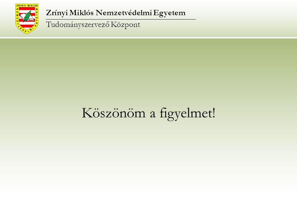 Köszönöm a figyelmet! Zrínyi Miklós Nemzetvédelmi Egyetem Tudományszervező Központ