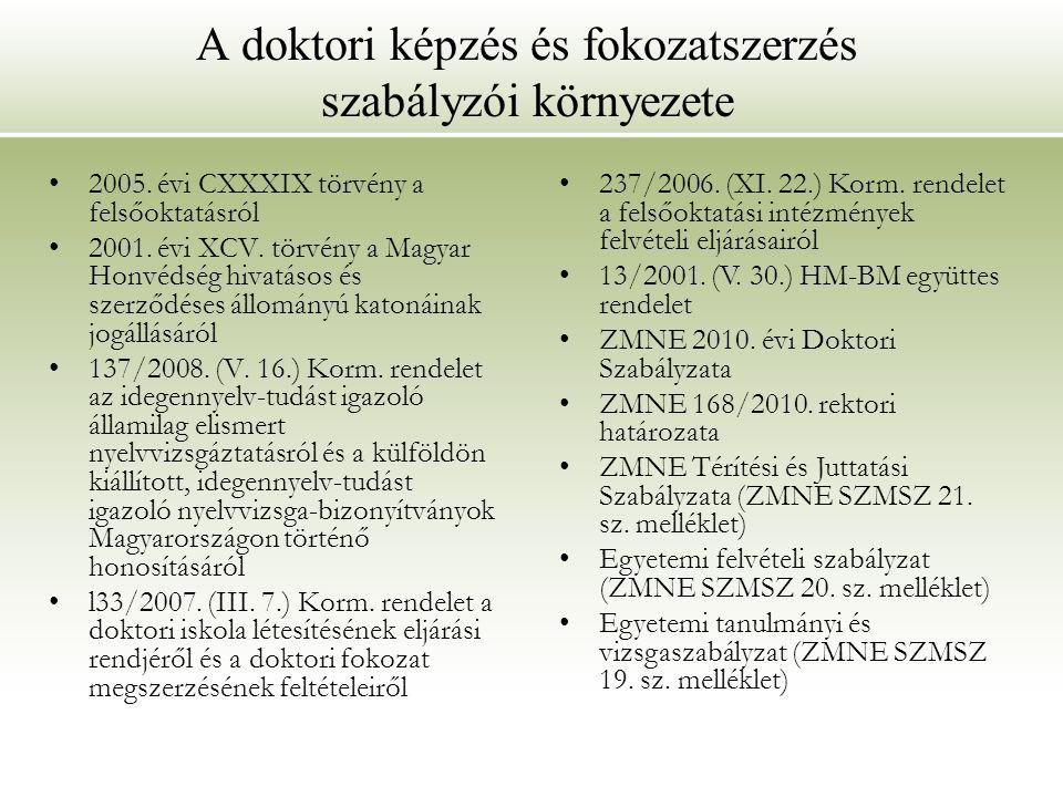 A doktori képzés és fokozatszerzés szabályzói környezete 2005. évi CXXXIX törvény a felsőoktatásról 2001. évi XCV. törvény a Magyar Honvédség hivatáso