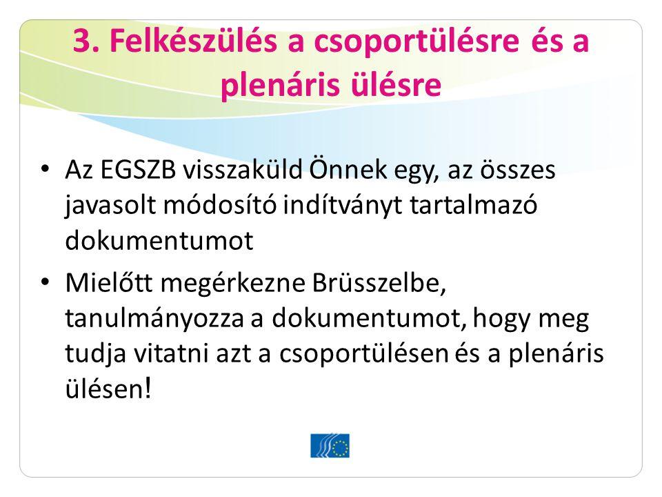 3. Felkészülés a csoportülésre és a plenáris ülésre Az EGSZB visszaküld Önnek egy, az összes javasolt módosító indítványt tartalmazó dokumentumot Miel