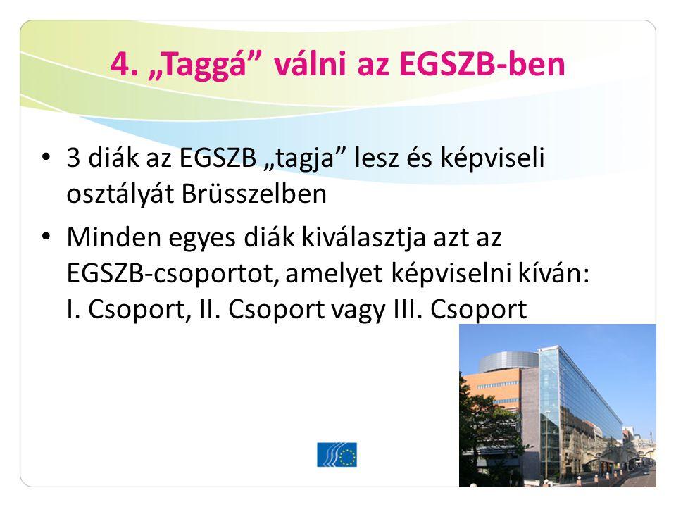 """4. """"Taggá"""" válni az EGSZB-ben 3 diák az EGSZB """"tagja"""" lesz és képviseli osztályát Brüsszelben Minden egyes diák kiválasztja azt az EGSZB-csoportot, am"""