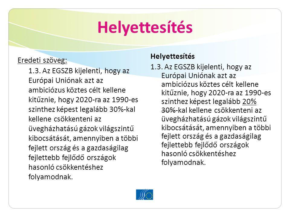 Helyettesítés Eredeti szöveg: 1.3. Az EGSZB kijelenti, hogy az Európai Uniónak azt az ambiciózus köztes célt kellene kitűznie, hogy 2020-ra az 1990-es