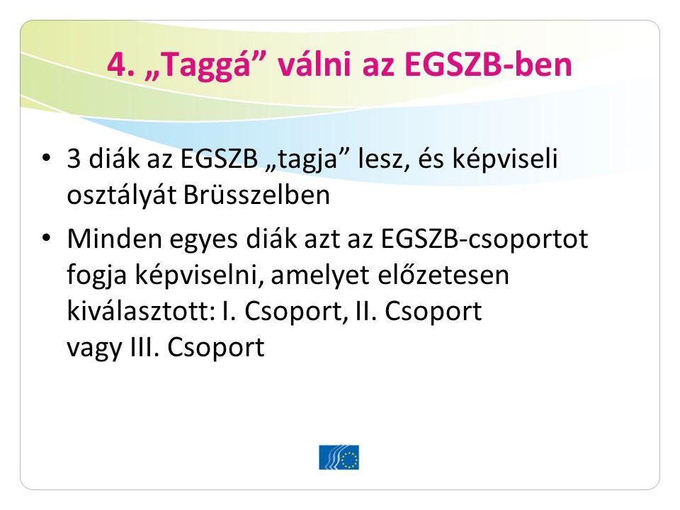 """4. """"Taggá"""" válni az EGSZB-ben 3 diák az EGSZB """"tagja"""" lesz, és képviseli osztályát Brüsszelben Minden egyes diák azt az EGSZB-csoportot fogja képvisel"""