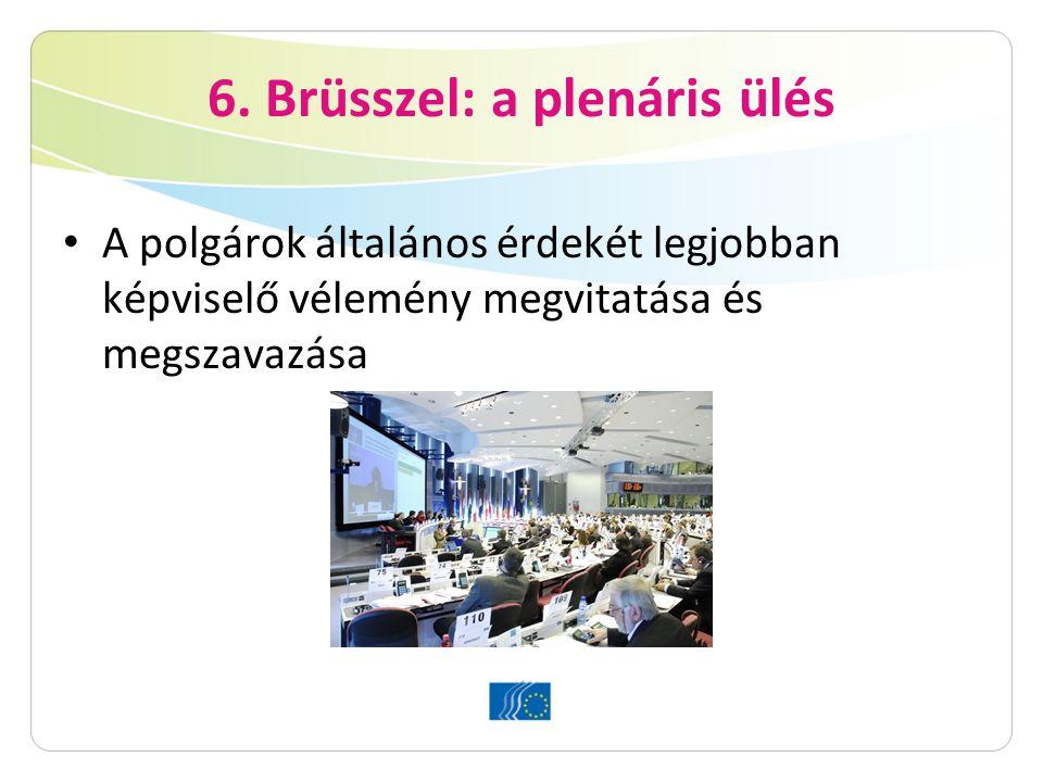 6. Brüsszel: a plenáris ülés A polgárok általános érdekét legjobban képviselő vélemény megvitatása és megszavazása