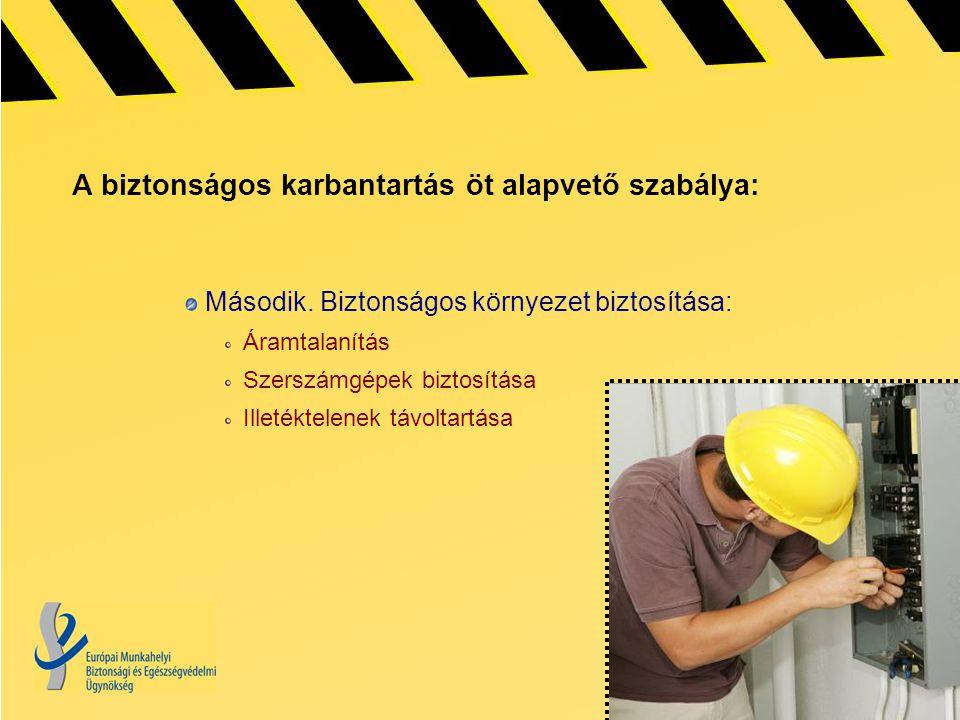 A biztonságos karbantartás öt alapvető szabálya: Második.