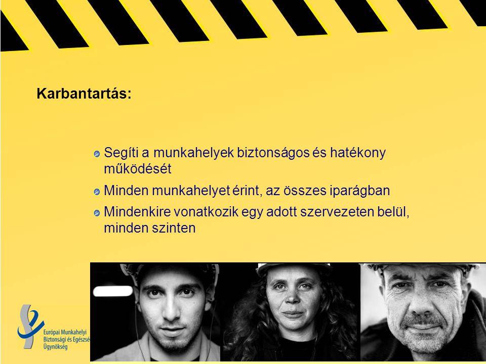 Karbantartás: Segíti a munkahelyek biztonságos és hatékony működését Minden munkahelyet érint, az összes iparágban Mindenkire vonatkozik egy adott szervezeten belül, minden szinten