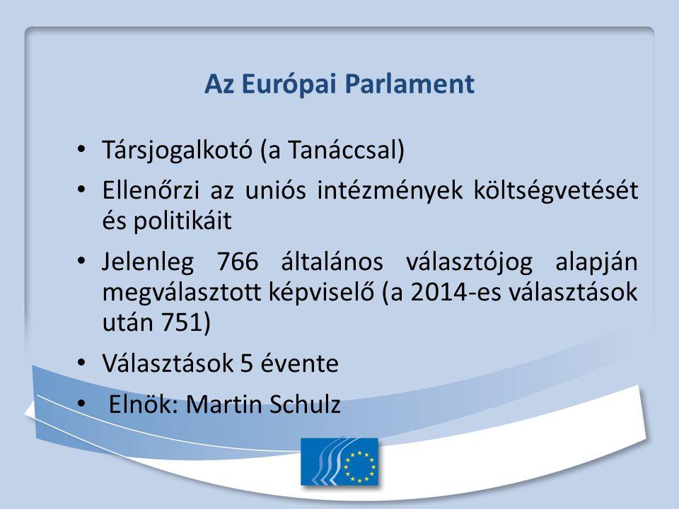Az Európai Parlament Társjogalkotó (a Tanáccsal) Ellenőrzi az uniós intézmények költségvetését és politikáit Jelenleg 766 általános választójog alapján megválasztott képviselő (a 2014-es választások után 751) Választások 5 évente Elnök: Martin Schulz