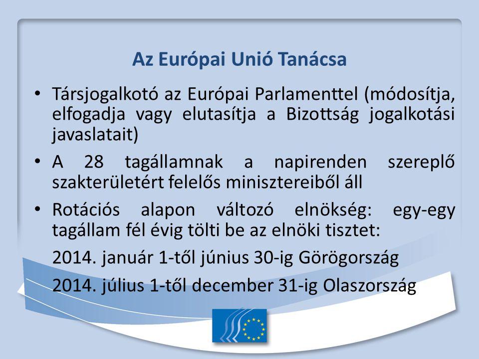 Az Európai Unió Tanácsa Társjogalkotó az Európai Parlamenttel (módosítja, elfogadja vagy elutasítja a Bizottság jogalkotási javaslatait) A 28 tagállamnak a napirenden szereplő szakterületért felelős minisztereiből áll Rotációs alapon változó elnökség: egy-egy tagállam fél évig tölti be az elnöki tisztet: 2014.