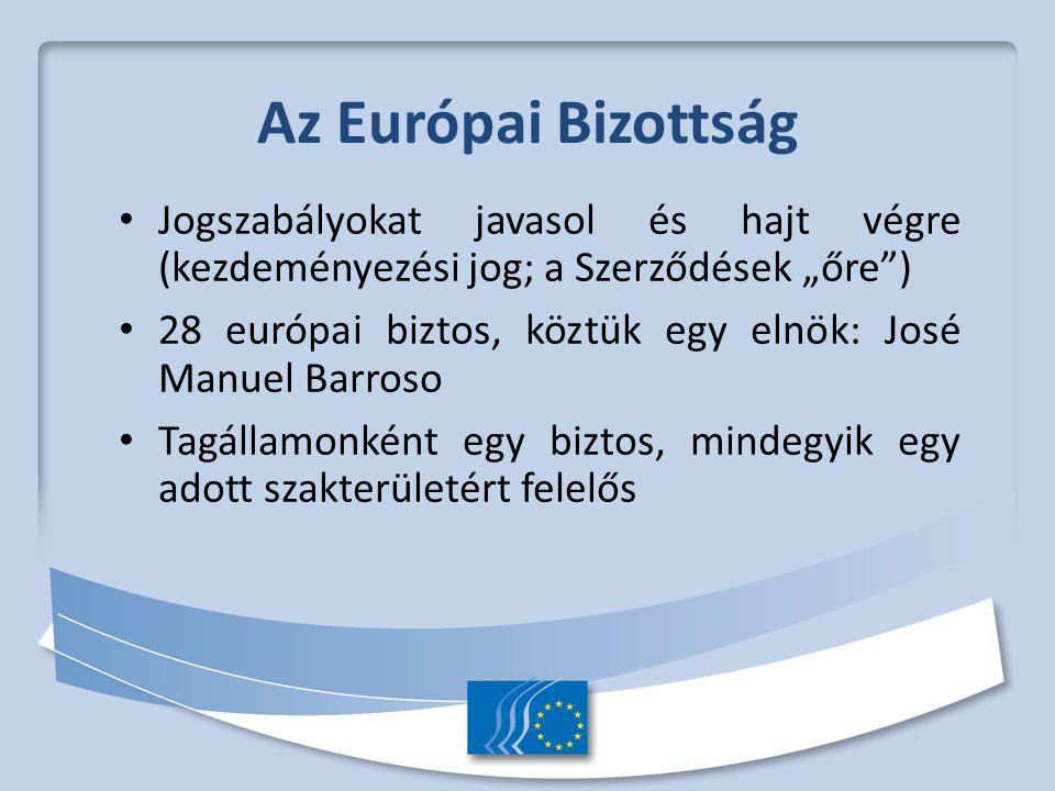 """Az Európai Bizottság Jogszabályokat javasol és hajt végre (kezdeményezési jog; a Szerződések """"őre ) 28 európai biztos, köztük egy elnök: José Manuel Barroso Tagállamonként egy biztos, mindegyik egy adott szakterületért felelős"""