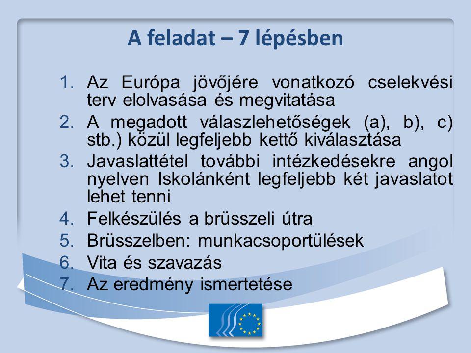 1. Az Európa jövőjére vonatkozó cselekvési terv elolvasása és megvitatása 2.