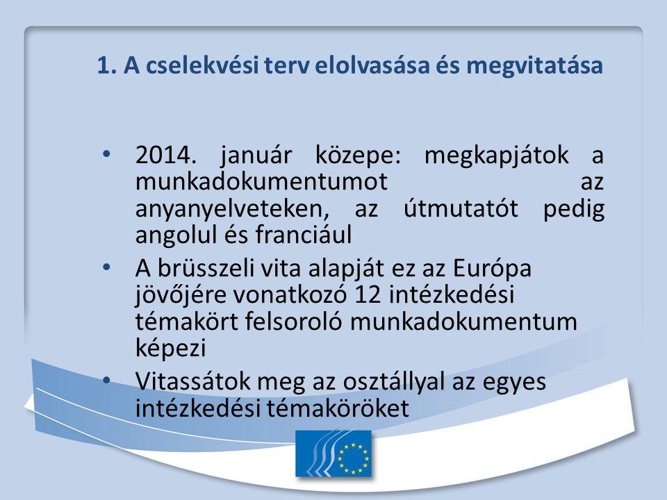 1. A cselekvési terv elolvasása és megvitatása 2014.