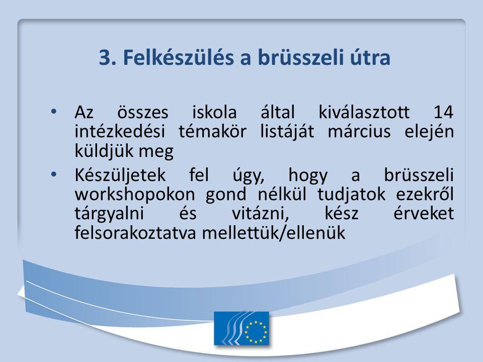 3. Felkészülés a brüsszeli útra Az összes iskola által kiválasztott 14 intézkedési témakör listáját március elején küldjük meg Készüljetek fel úgy, ho