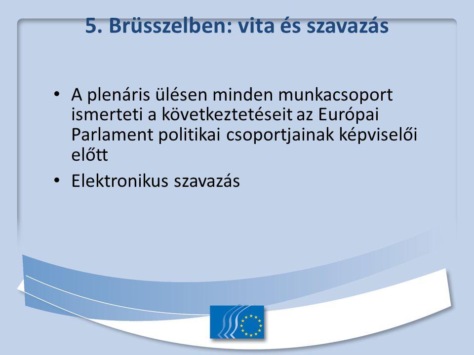 5. Brüsszelben: vita és szavazás A plenáris ülésen minden munkacsoport ismerteti a következtetéseit az Európai Parlament politikai csoportjainak képvi