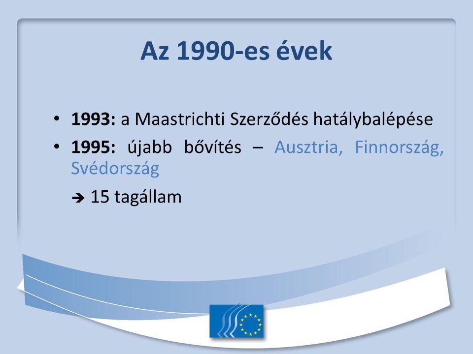 Az 1990-es évek 1993: a Maastrichti Szerződés hatálybalépése 1995: újabb bővítés – Ausztria, Finnország, Svédország  15 tagállam